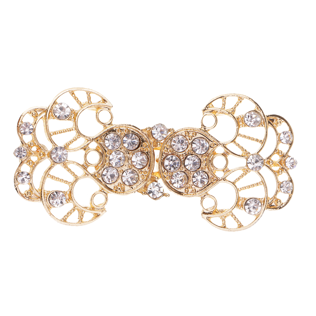 be1b30fa0c US $2.77 27% OFF|fityle 1 Pair Rhinestone Crystal Bridal Wrap Closure Hook  & Eye Clasp Hollow Flower for Sweater Clothes Decoration-in Buttons from ...