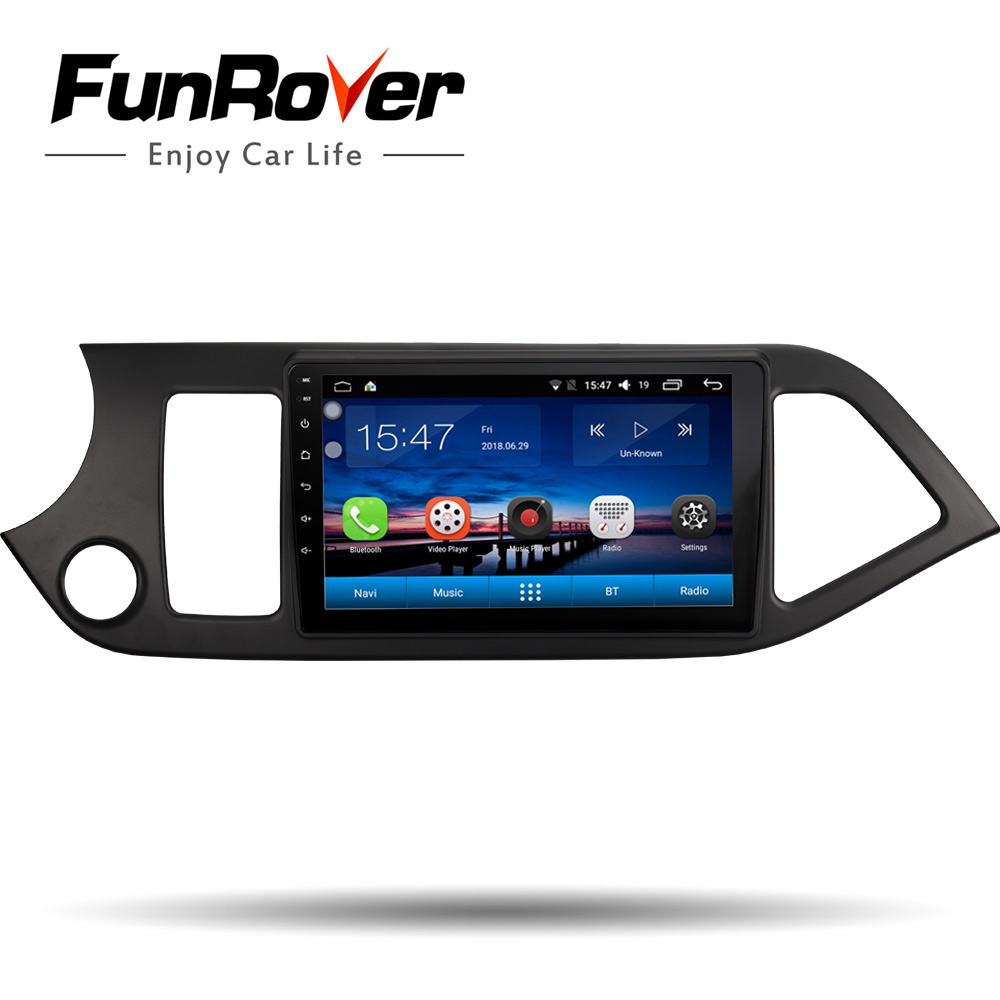 Funrover 2 din android 8.0 car dvd gps Navigation For KIA Picanto Moring 2011-2017 car radio vedio audio player tape recorder fm