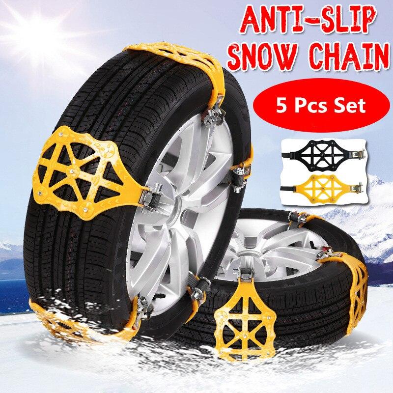 5 pcs/lot chaînes à neige universel voiture costume pneu hiver chaussée sécurité pneus chaînes neige escalade boue sol antidérapant