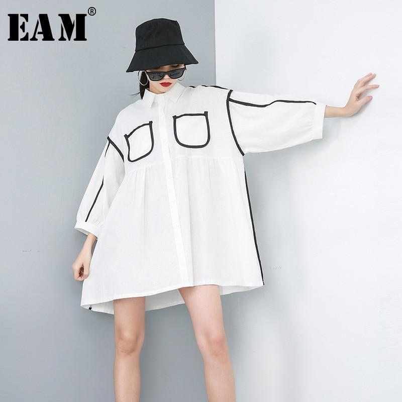 [EAM] 2020 New Spring Autumn Lapel Long Sleeve White Pocket Split Joint Loose Big Size Shirt Dress Women Fashion Tide JR865