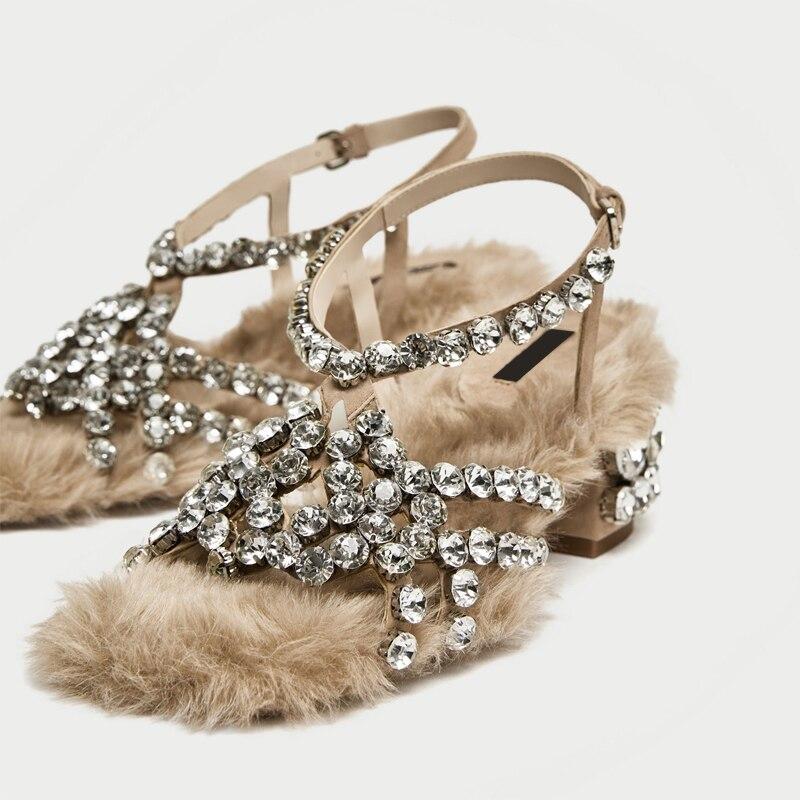 Medio Zapatos Verano Cristal Moda Mujeres Enjaulado Sandalias Tacón Imitación Bling As Decoración no Fur Diamantes Lujo De Mujer Piel Las Show wW6zq8gq