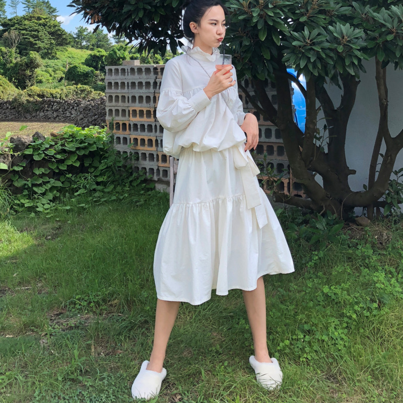 DEAT 2019 New Spring Fashion Full Sleeves Cotton High Quality Waist Dress A line Pleated Fake