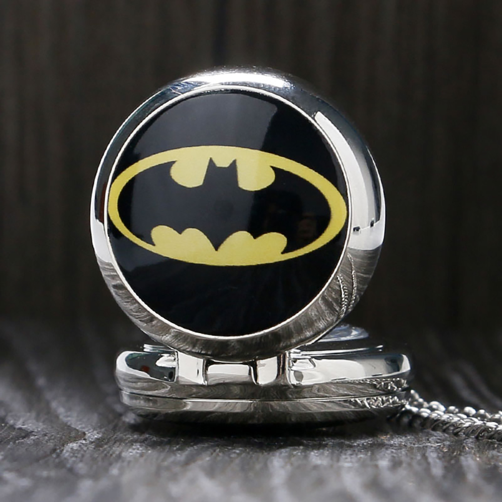 Little Size Batman Theme Quartz Pocket Watch Cute Necklace Watch Gifts For Kids Boys Girls Retro Pendant Clock With Chain