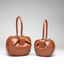 Ins Hot Style New Cowhide Dumping-Shape Bag Hard Genuine Leather Women Handbag Solid Color Tote Special designer Weekend