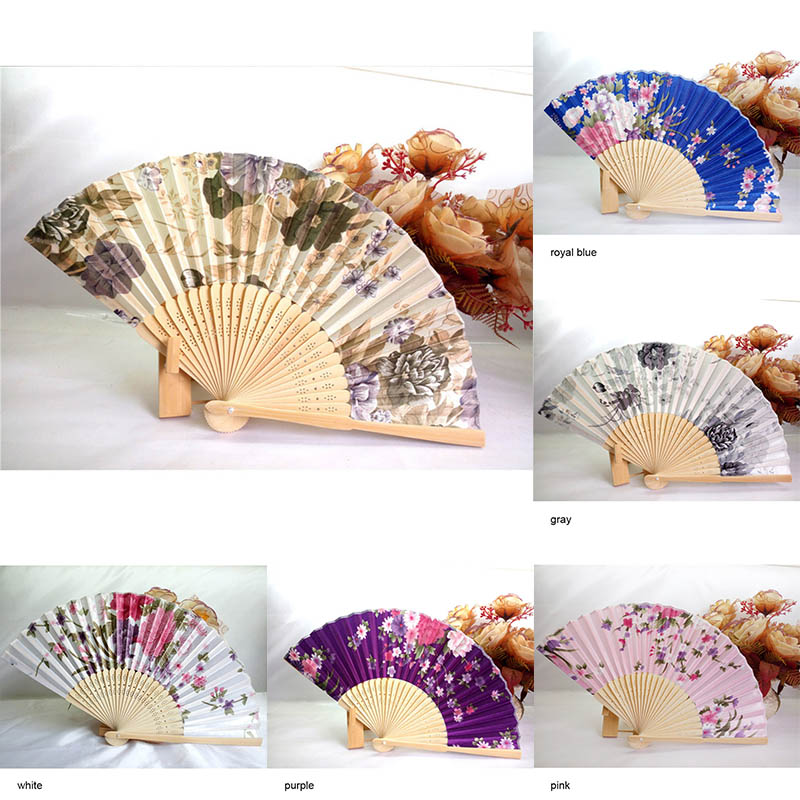 Japanese Style Chinese Bamboo Fans Folding Hand Fan Classical Antique Wedding Flowers Floral Dance Party Festival Decor