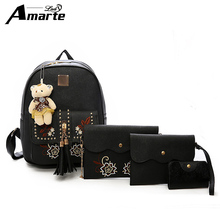 2019 Amarte Women Backpacks 4 Pcs/Set Women PU Leather Multipurpose Female School Bag for Teenage Girls Travel Backpacks