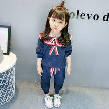 цена на 2018 New Girls Spring Autumn Clothes Suit Sailor Collar Bow Long Sleeve T-shirt Pants 2 Pcs Sets Toddler Tracksuit Kids Clothing