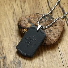 Quantum Scalar Power Energy Bio Science Negative Ions Pendant Necklace for Men Dog Tag Japanese Technology Volcanic Lava Jewels