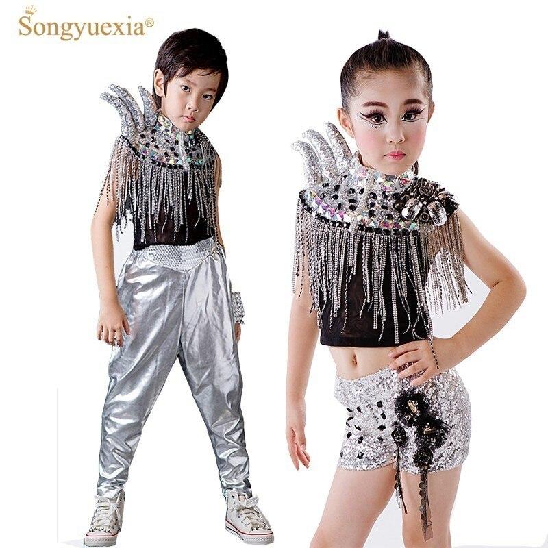 Enfants Sequin moderne Jazz danse Costumes Hip Hop scène monte tambours groupe vêtements Catwalk cornes enfants salle de bal Performace robe