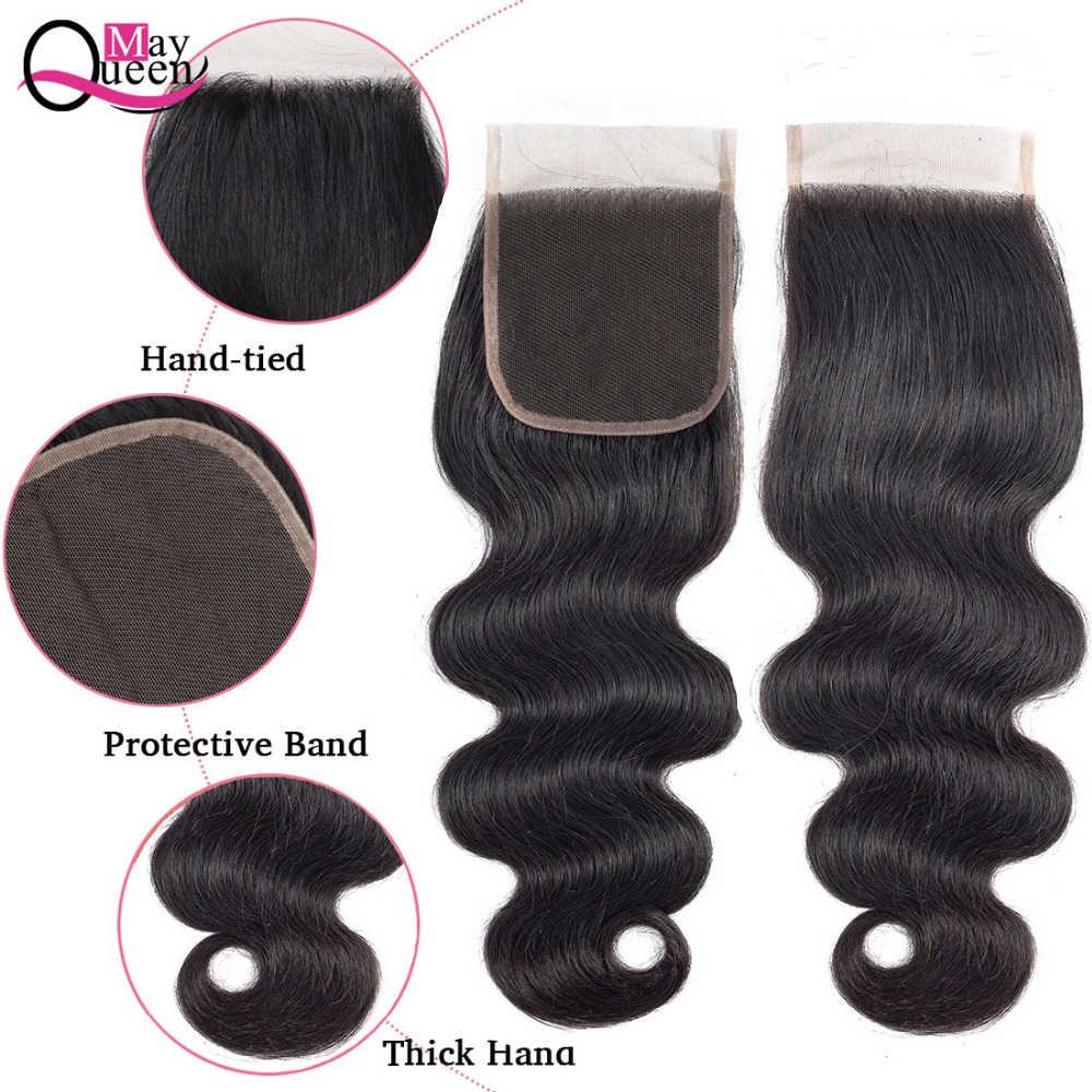 Бразильские объемные волнистые пучки с закрытием человеческих волос пучки с закрытием может Королева remy волосы плетение 3 пучка с закрытием
