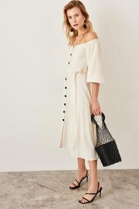 Trendyol Raw White Lacing Detail Dress TWOSS19IE0009