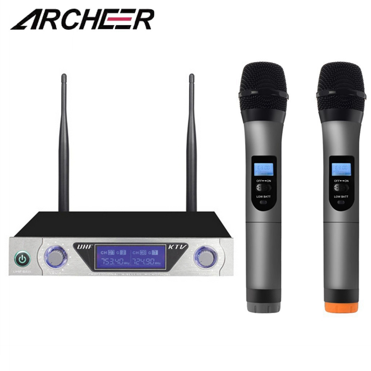 ARCHEER Dual Channel Wireless Handheld UHF Microphone  Home Karaoke Microphone LCD System For Home KTV Karaoke