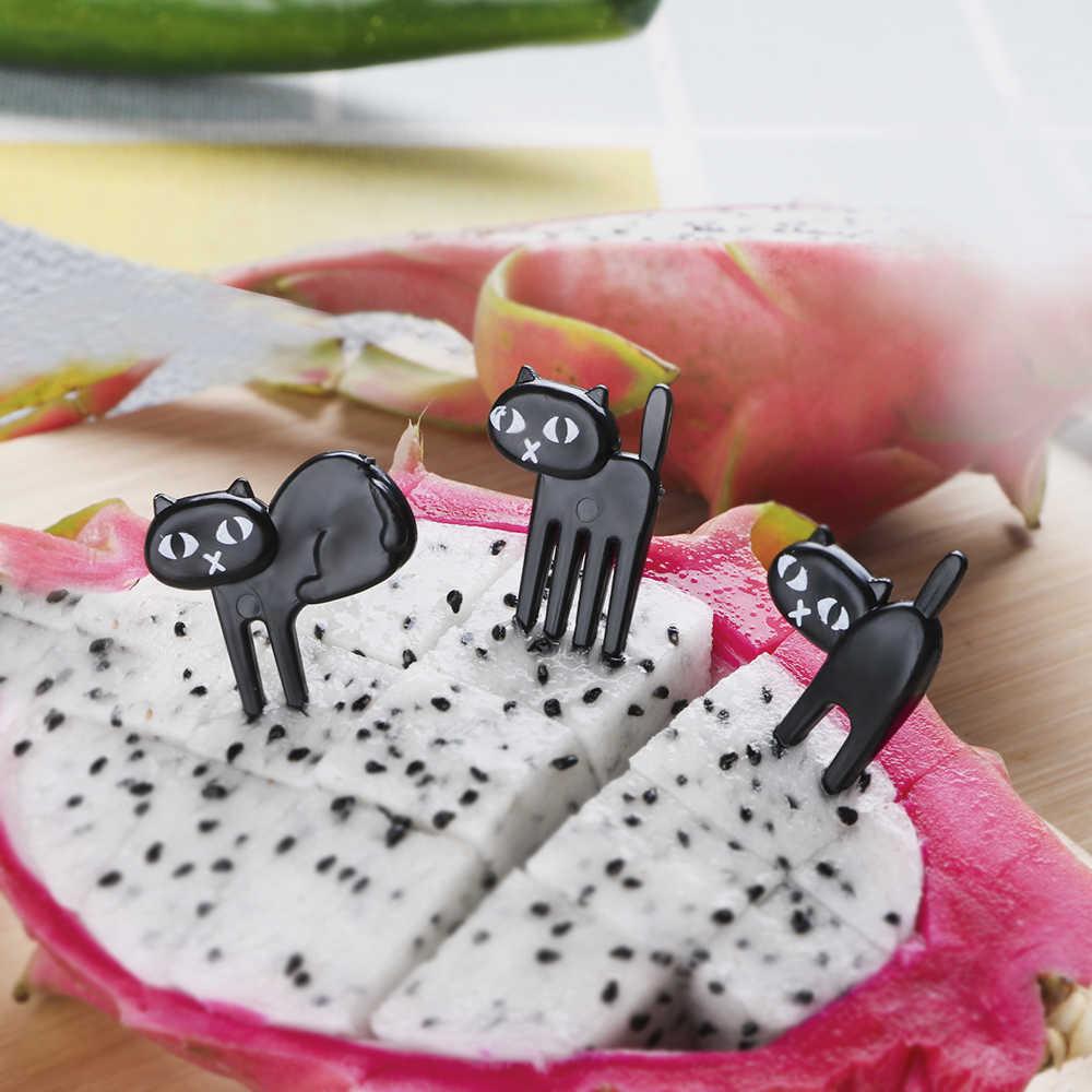 Fourchette à fruits chat noir Mini dessin animé Snack gâteau à Dessert fourchette à aliments 6/12/18 pièces/paquet Bento déjeuners cure-dents décoration de fête vaisselle