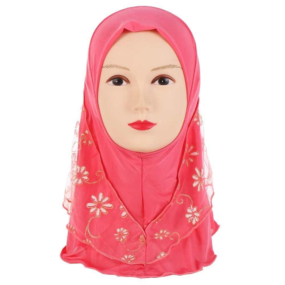 Malese Musulmano Con Cappuccio Per Bambini Cappello Hijab Maglia Fiori In Bianco E Nero Velo Cap Viso Della Copertura Abaya Stile testa Avvolgere che copre
