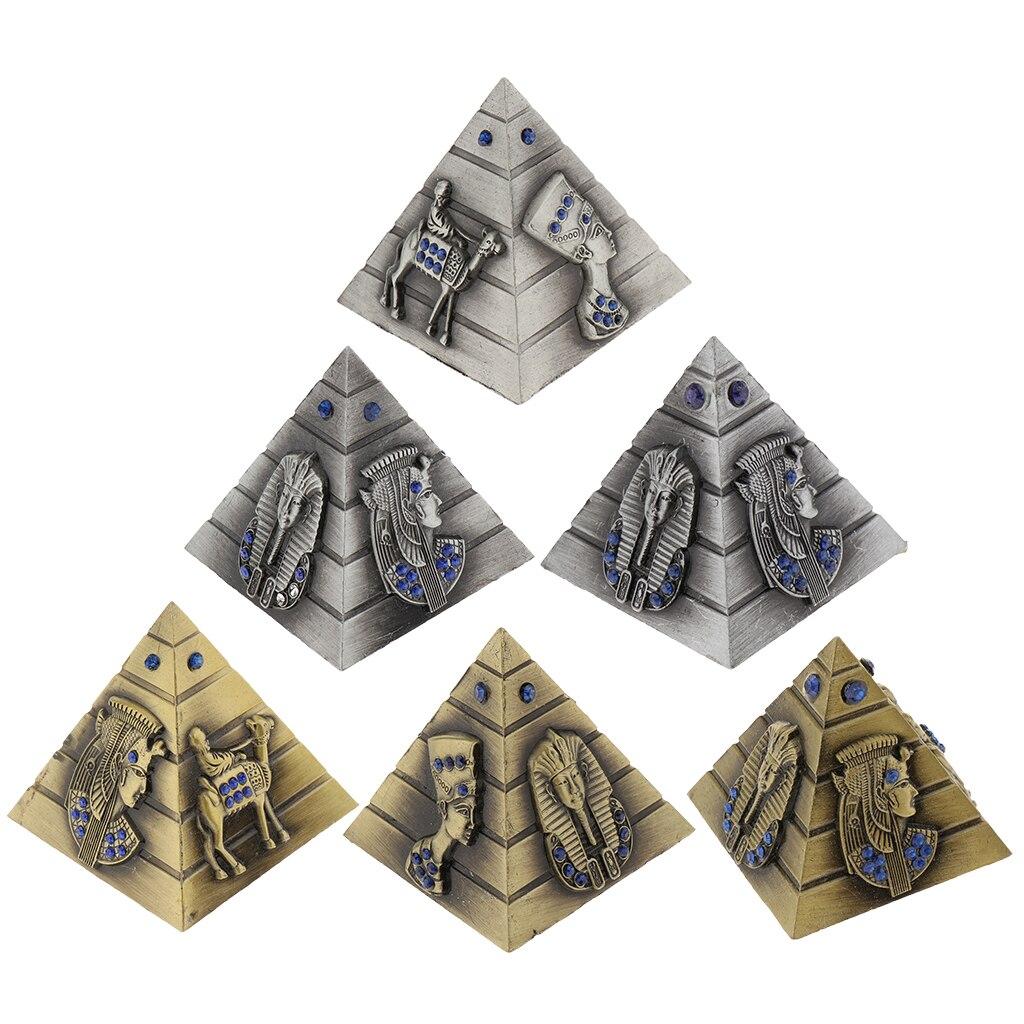 Us 3 45 19 Off Vintage Metal Egyptian Pyramids Building Model Pyramid Statues Desktop Decoration Ornaments Travelling Souvenir In Figurines