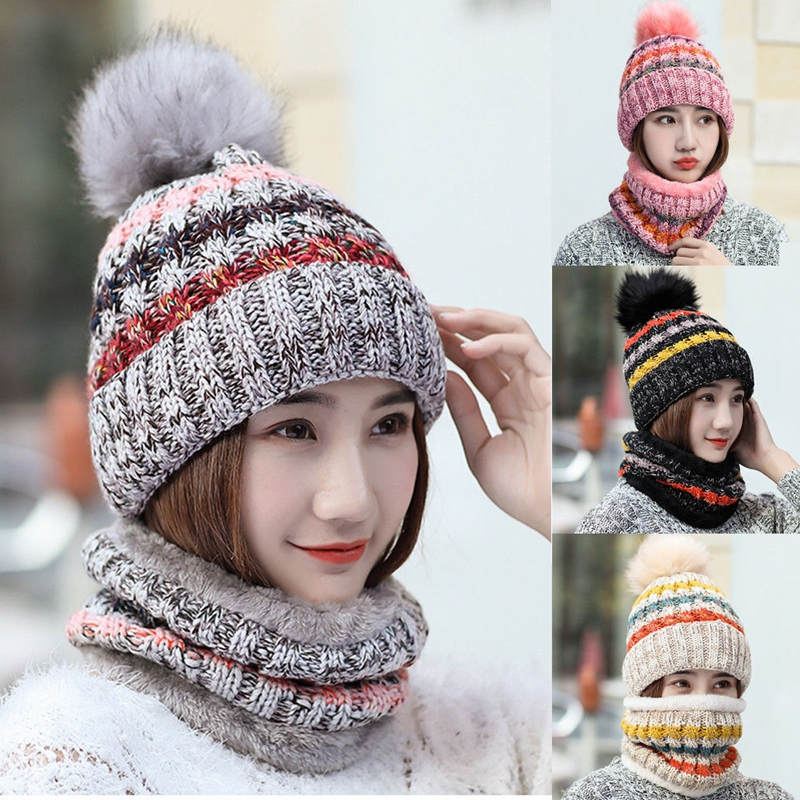 Hirigin 2Pcs Fashion 2018 Women Wool Knitted Ring Scarf Beanie Multi Color Hat Warm Winter Thick Thermal Cap Sets