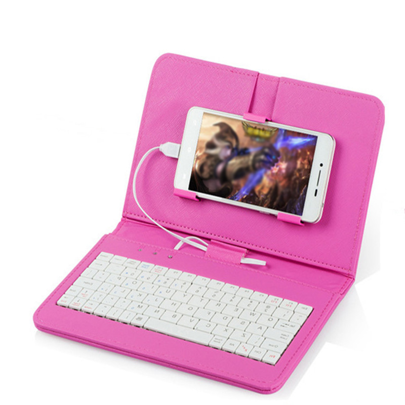 Portable PU Leather Wireless Keyboard Case Protective with Phone Clip Case Holder Full Protection