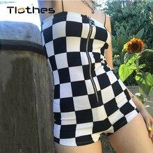 f92370e1c0a3 Short Jumpsuit Checkerboard Rompers Women Clothing Summer Autumn Fashion  Plaid Lattice Jumpsuit Off Shoulder Sling Overalls