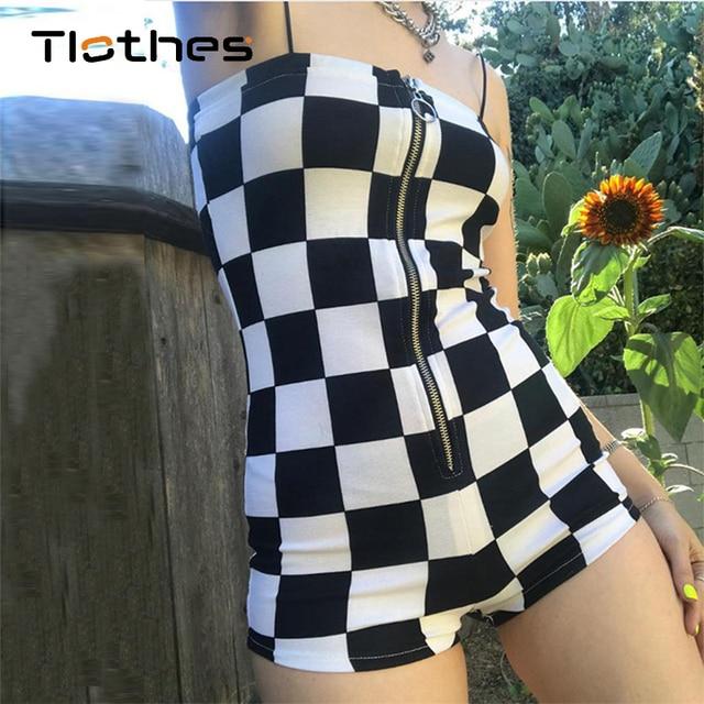 c38c2202a8d Short Jumpsuit Checkerboard Rompers Women Clothing Summer Autumn Fashion  Plaid Lattice Jumpsuit Off Shoulder Sling Overalls