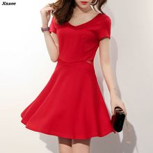 2018 New Spring Summer Women Dress Female short-Sleeved Slim A-line Party Dresses Fashion Sexy Hollow Out  Mini Vestidos Xnxee