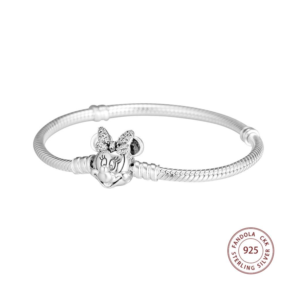 CKK 925 Sterling Silver Shimmering Minnie Portrait Clasp Charms Bracelets for Women 925 Silver Chain Bracelets