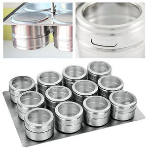 Image 2 - 9/12 Pieces Magnetic Spice Jars Set Stainless Steel Salt And Pepper Spray Shakers Spice Rack Seasoning Box Condiment Container