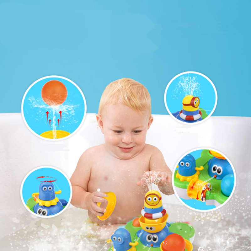 Colorful Whales Paradise Baby Fountain Bath Toys For Children Douche Kids Electric Floating Spraying Water Cartoon Toy Funny