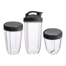 Vasos de repuesto 3 uds 32 Oz colosal + 24 Oz de alto + 18oz de taza pequeña + 3 tapas para exprimidor de fruta Nutribullet piezas de aparato de cocina B
