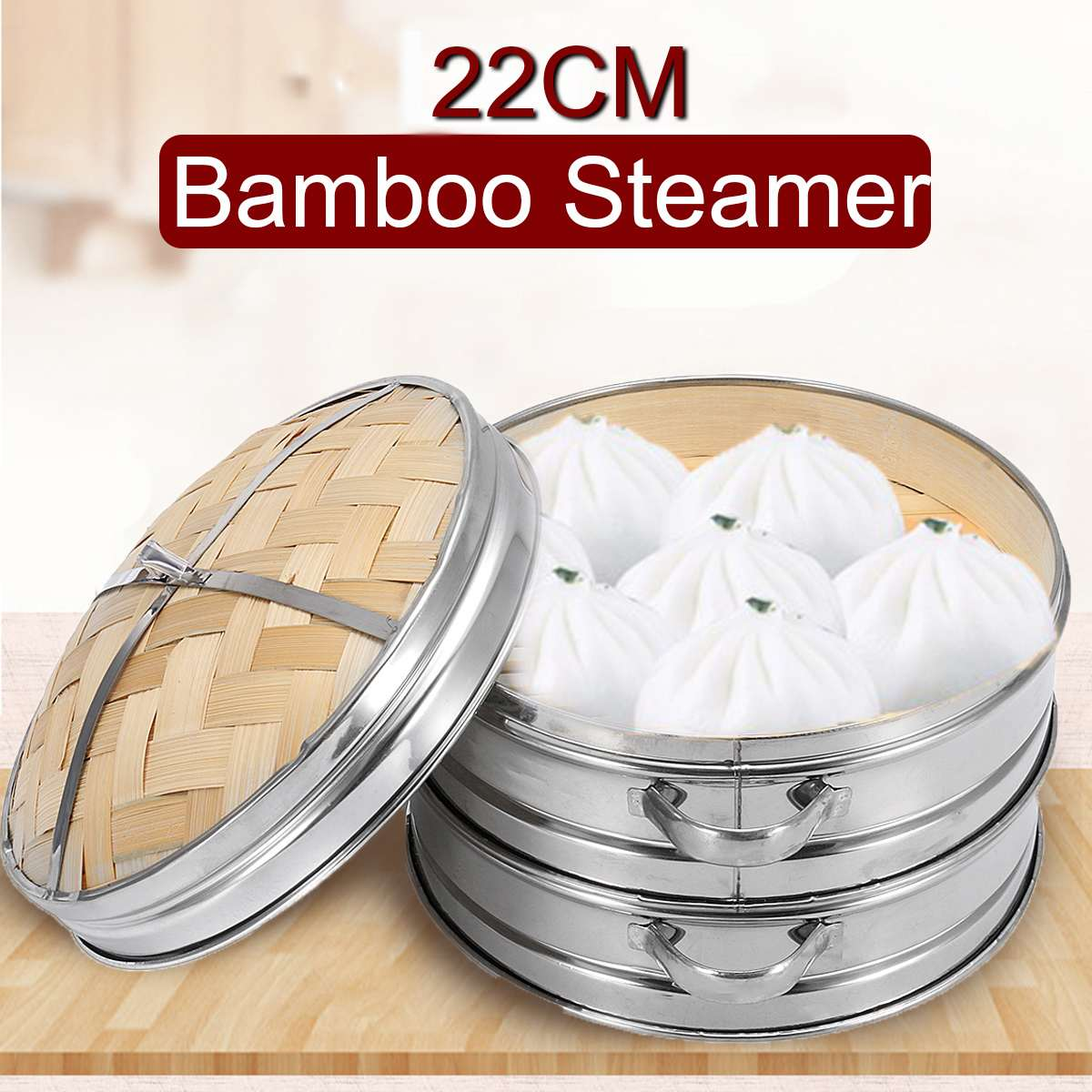 2 Tier Bamboo Steamer With Cover Basket Kitchen Cookware For Dumpling Fish Rice Vegetable Pasta Chinese Heating Steaming Basket