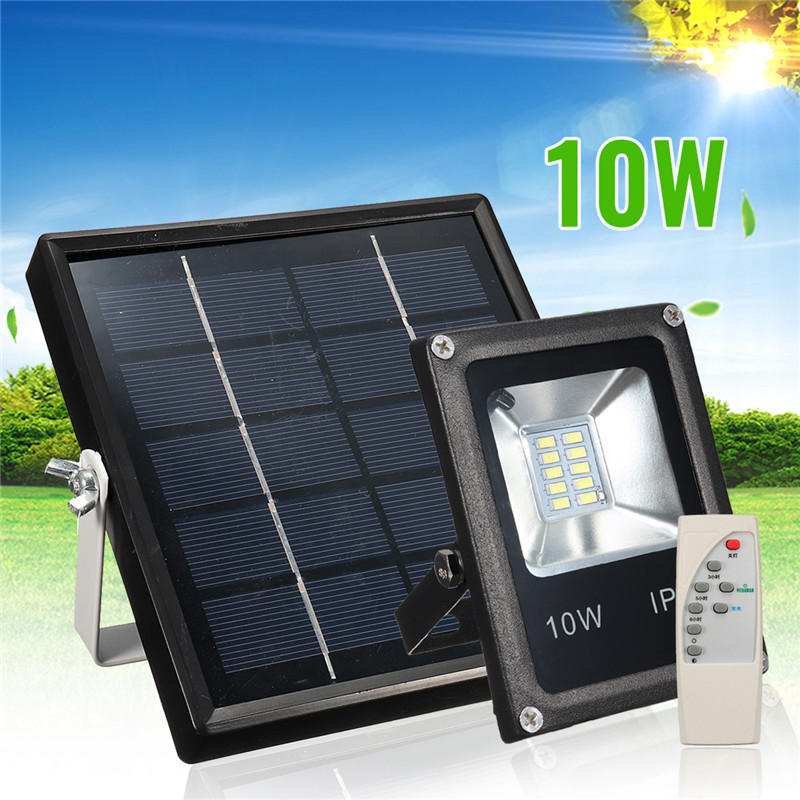 Mising Waterproof Solar Floodlights 10W Remote Control + Timer + Lighting Control Outdoor Lighting LED Spotlight Garden Lamp 3 7v 1000mah 22 led remote control solar lamp hooking camp garden lighting outdoor indoor m25