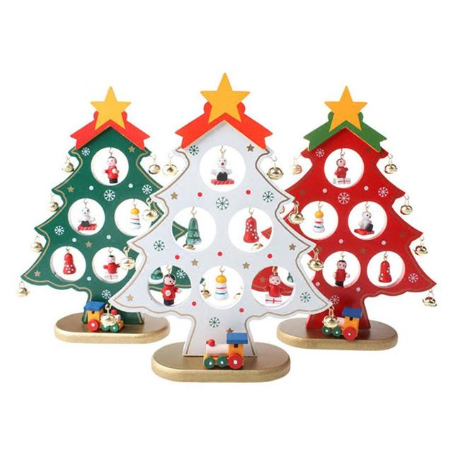 Children Christmas Tree Decorations.Us 7 99 30 Off Diy Wooden Christmas Trees Decor Ornaments Festival Party Xmas Tree Table Desk Decoration Children Christmas Gifts In Pendant Drop