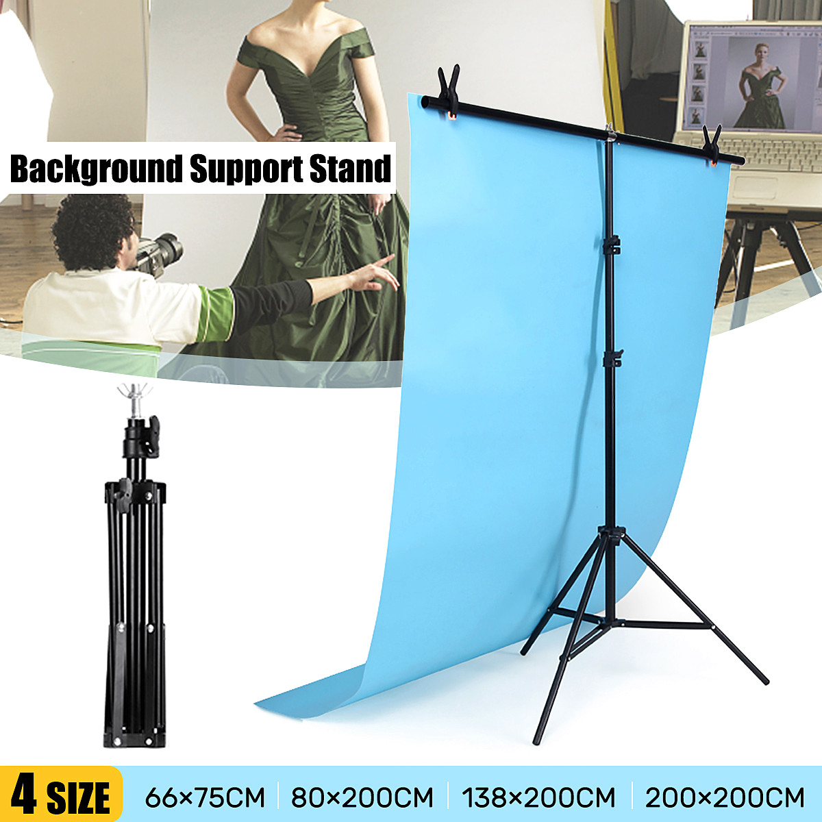 Newest 4 Sizes T-type Adjustable Background Frame Support Stand Metal Holder Photo Studio Backdrop System Photography Equipment(China)