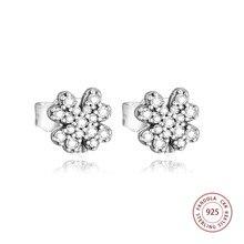 купить 100% 925 Sterling Silver Radiant Lucky Four-Leaf Clover Stud Earrings For Women Wedding Earring Jewelry joyas de plata 925 дешево