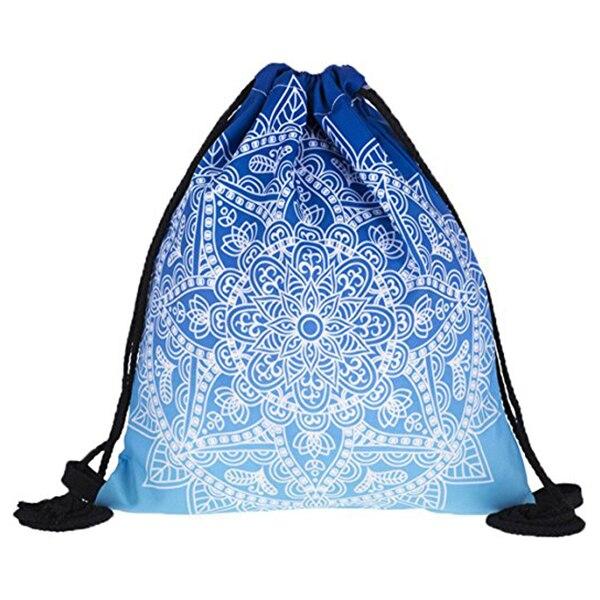 3D Print Drawstring Backpack Rucksack Shoulder Bags Gym Bag Black and White