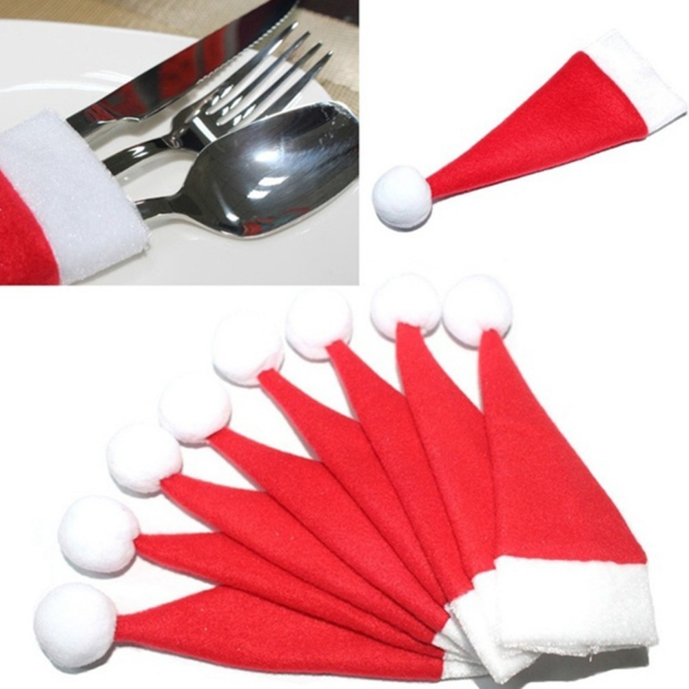 10pcs Christmas Decorations Santa Hat Ornaments Tableware Knife Fork Cover Merry New Year