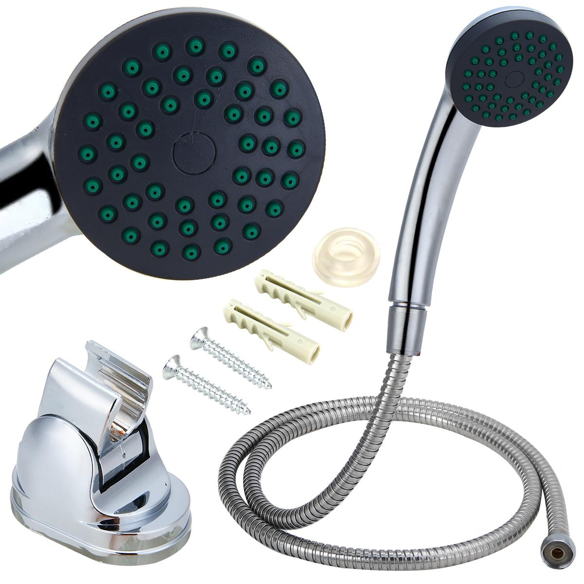 Us 7 99 30 Off Mayitr 3pcs Bathroom Shower Head Set Handheld Spray Shower Head Bracket Flexible Horse For Bath Shower Accessories In Shower
