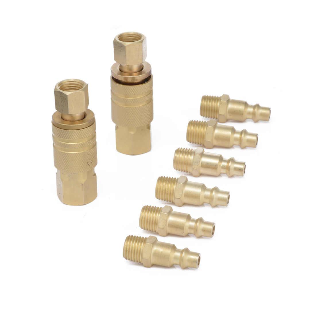 "10pcs Brass Quick Coupler Set Air Hose Connector Fittings 1//4/""NPT Tools Plug"