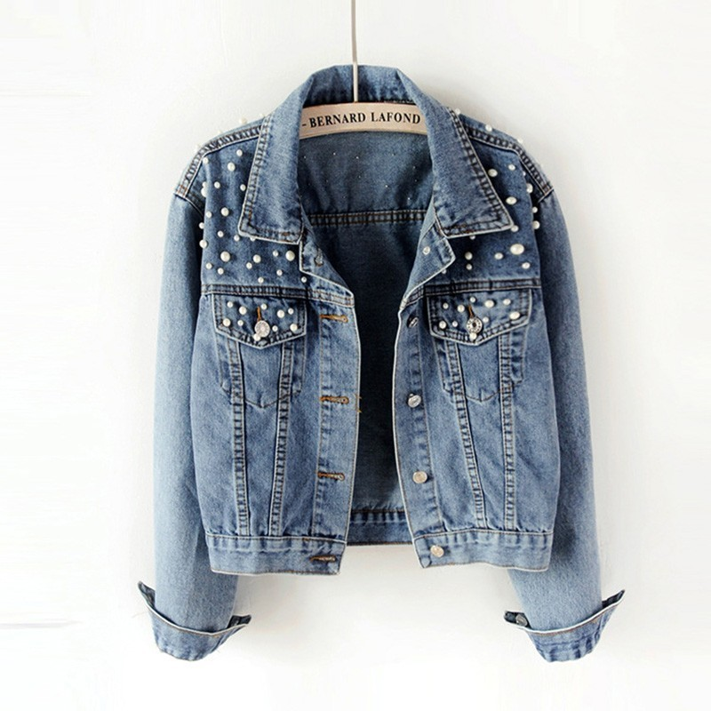 Plus Size Pearl Beading Short Denim Jackets 5xl Women White Wash Long Sleeve Vintage Casual Jeans Jacket Bomber Denim   Coat   Za