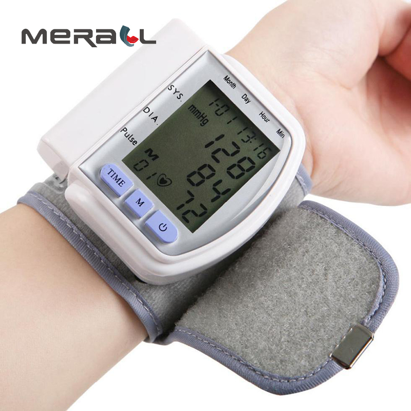 Tonometer On Wrist Digital LCD Automatic Blood Pressure Monitor Heart Beat Meter Pulse Oximeter Health Care Cuff white Device | healthy feet socks