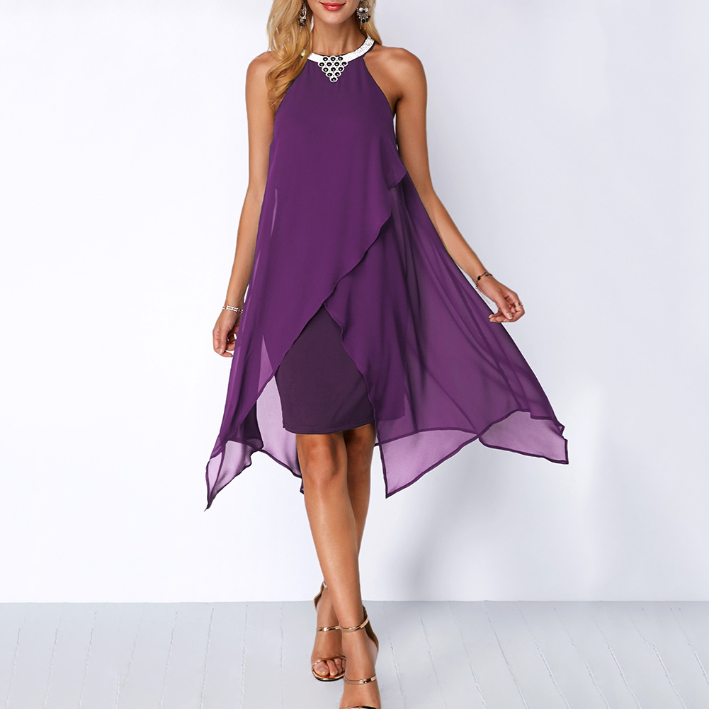 Fashion Summer Women Round Neck Metal Necklace Sleeveless Dress Irregular Double Layer Chiffon Midi Beach Party Loose Dresses in Dresses from Women 39 s Clothing