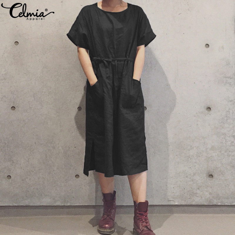 Celmia Women Linen Shirt Dresses Belted 2019 Summer Sexy Backless Casual Loose Beach Midi Vestidos Femme Robe Plus Size Sundress