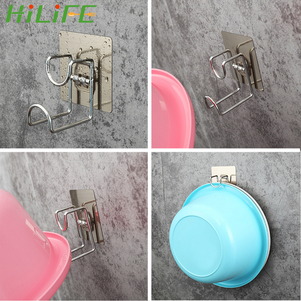 HILIFE Wall Mounted Door Sticky Hanger Holder Wash Basin Holder Stainless Steel Strong Adhesive Hook Kitchen Bathroom Creative