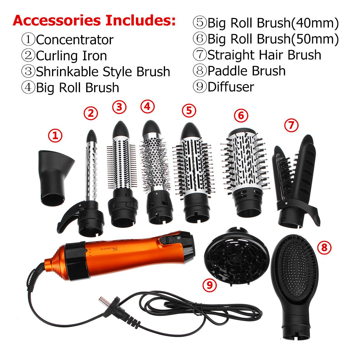 SURKER 10 in 1 Hair Styling Brush Comb Dryer 1000W 220V-240V Curler Straightener Hot Cool Air Styling Kit Two File Repair шаблон для мема с дрейком