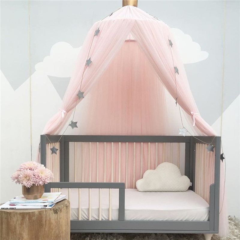 Mother & Kids Hanging Kid Baby Bedding Round Dome Bed Decoration Canopy Bedcover Mosquito Net Curtain Chiffon Three-open Tassel Bed Romantic
