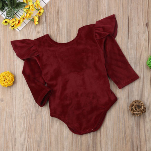 2019 New Infant Newborn Baby Girls Long Sleeve Bodysuits Jumpsuit Cotton Solid Velvet Warm Bowknot Bodysuits Outfit Curing Cough And Facilitating Expectoration And Relieving Hoarseness Bodysuits & One-pieces