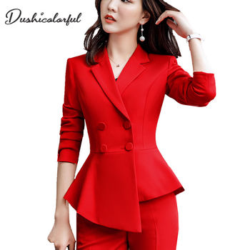 Women Red blazer Slim Spring Autumn new Elegant Office Lady Jacket Work Suit Ruffled Double Breasted blazer solid Dushicolorful