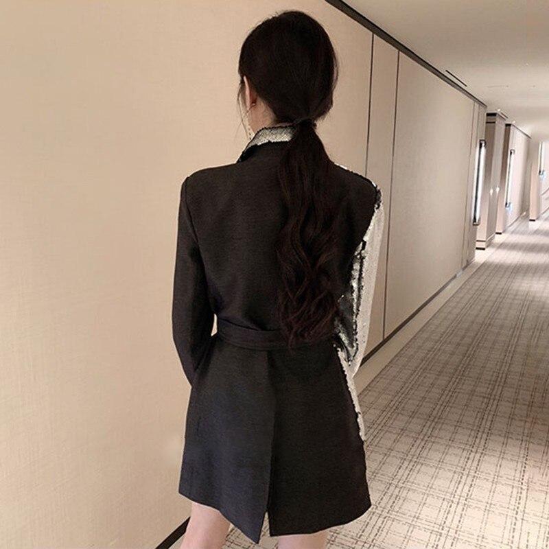 Deuxtwinstyle lourd paillettes Blazer manteau femme revers à manches longues Bandage femmes costumes décontracté mode 2019 automne grandes tailles-in Blazers from Mode Femme et Accessoires    3