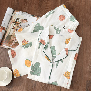 Image 3 - 100% Cotton Gauze Thin Maternity Wear Women Pajamas Set Loose Breastfeeding Clothing Cartoon Sleepwear Autumn Plus Size Pajamas