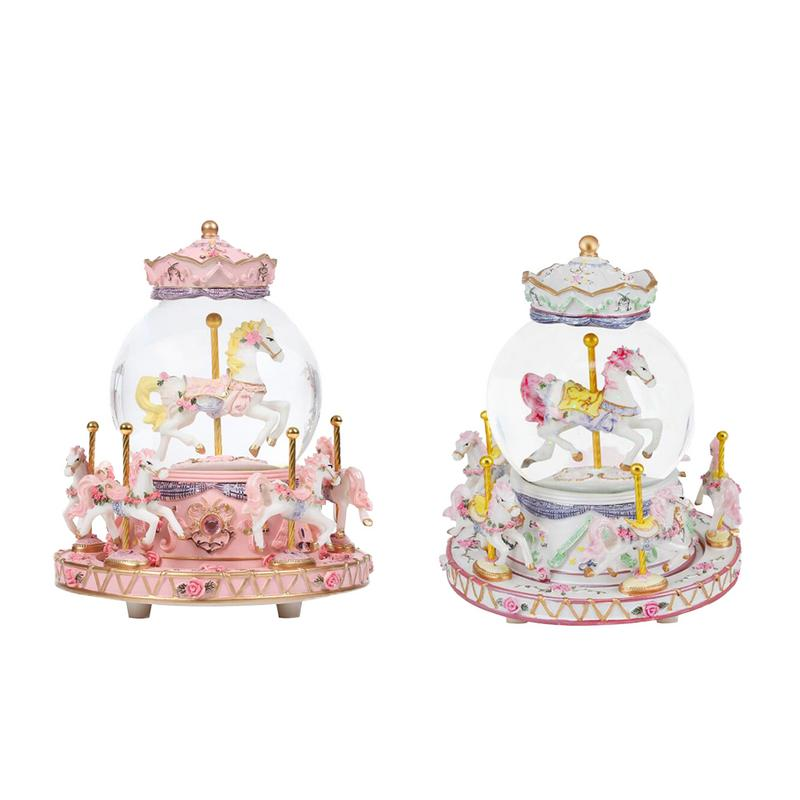 Classic Wind Up Toys Romantic Luminous Carousel Music Box With Crystal Ball Colorful LED Lights For Home Decoration Children