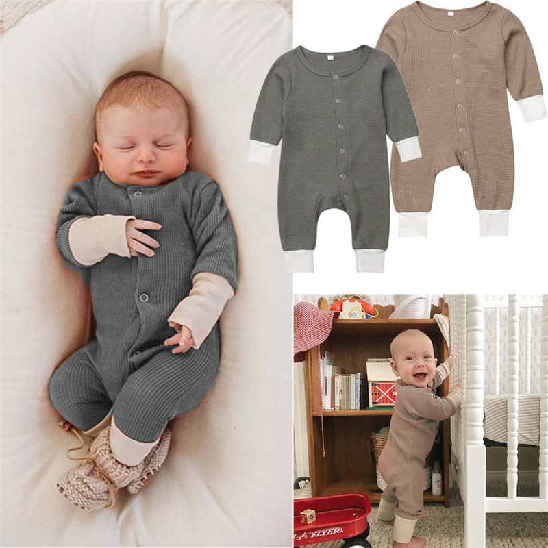 2018 Fashion Kids Baby Girl Boy Knitted   Romper   Unisex Kids Long Sleeve Crew Neck Jumpsuit Jumper Knitwear Autumn Clothes 3-18M